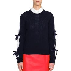 Jil Sander Bow-Detail Slit-Sleeve Cashmere Sweater (16,275 MXN) ❤ liked on Polyvore featuring tops, sweaters, apparel & accessories, blue, bow tie sweater, ribbed sweater, cashmere sweater, blue pullover sweater and cashmere crew neck sweater