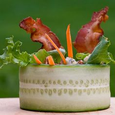 Cucumber Wrap Salad with Bacon and Blue Cheese Recipe