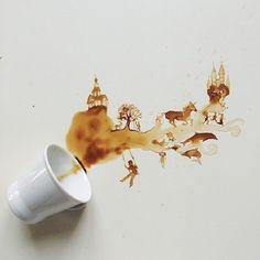 Ghidaq al-Nizar y Giulia Bernadelli utilizan restos del café de la mañana crean excepcionales retratos y paisajes
