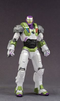 "A ""War Machine"" toy from ""Iron Man 2"" painted up like Buzz Lightyear."