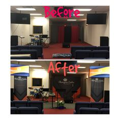 Champion Centre Church in Lorain, OH gave their space an identity with our economy banners and 10 ft curved backdrop! Church Interior Design, Church Stage Design, Church Ministry, Youth Ministry, Kids Church, Church Ideas, Youth Group Rooms, Church Banners Designs, Church Altar Decorations