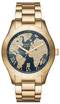 Michael Kors Layton Map Stainless Steel Watch