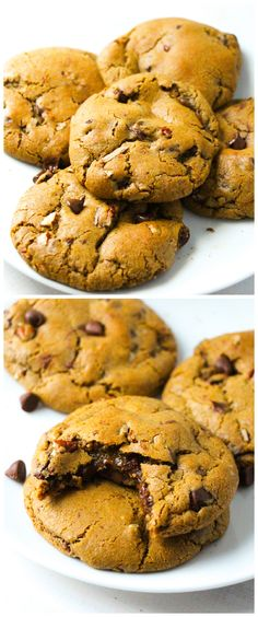 Browned Butter NUTELLA STUFFED Pumpkin Chocolate Chip Cookies!! A must try this fall!