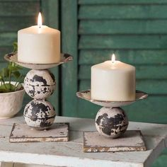 This set of rustic metal pillar holders adds a farmhouse flair to any space. Use with real or LED candles. x Small: dia. X Shown with candles, not included. Rustic Candle Holders, Rustic Candles, Large Candles, Candle Holder Set, Pillar Candles, Homemade Candle Holders, Farmhouse Candles, Candle Set, Decoration