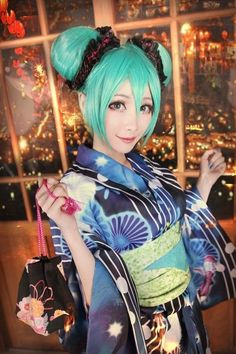 Vocaloid Hatsune Miku Project DIVA Bathrobe Kimono Miku  Dress Cosplay Costume #Handmade #Dress