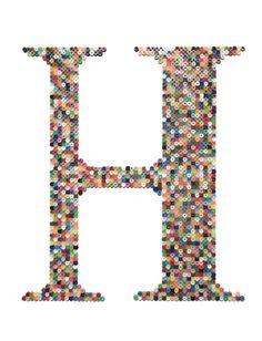 Hama/Perler Beads - Letter H