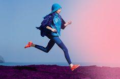 bright colours, purples, blues, action