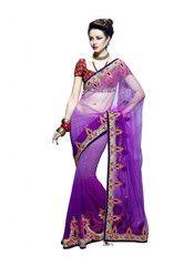 #Purple #colour #astonishing worked #sari #saree in net material