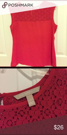 Lace blouse Lovely red lace top that can be dressed up or dressed down. Very light fabric that doesn't wrinkle. Banana Republic Tops Blouses