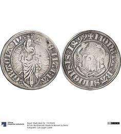 Basel: Stadt Münze 1499 Land: Schweiz (Land) Region: Basel-Stadt (Region) Münzstätte/Ausgabeort: Basel Nominal: Dicken, Material: Silber, Druckverfahren: geprägt Gewicht: 6,75 g Durchmesser: 30 mm