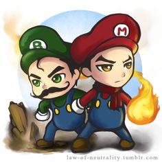"""""""The Legend of Korra"""" meets """"Mario Bros."""" (Bolin as Luigi and Mako as Mario)"""
