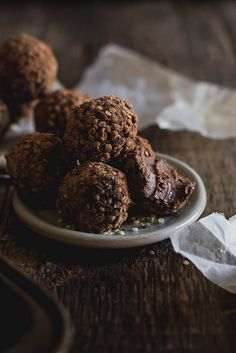Raw, Vegan Almond Butter & Hemp Seed Truffles - these are SO GOOD.