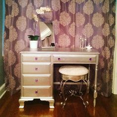 Transformation (and how to) of turning a drab desk into a glam vanity! Mullens Home: Make-Up the Vanity