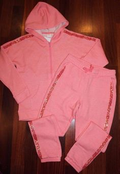 NEW NWT Gymboree Coral Salmon Girls Sweatsuit Hoodie Pant Set Outfit Large 10 12 #Gymboree #DressyEverydayHoliday