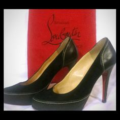 Christian Louboutin sz 37.5 These are an Authentic beautiful pair of Louboutin 's . Black suede/black leather with 4 in stiletto heel. These have only been worn a couple of times and show only minimal wear on the heels. No creasing or denting. Replacement rubber soles applied professionally at the time of purchase. Comes with dust bag. Fits more like a 7. Christian Louboutin Shoes