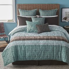 Bryan Keith Wildwood Reversible Comforter Set ($190) ❤ liked on Polyvore featuring home, bed & bath, bedding, comforters, machine washable comforter, european pillow shams, euro pillow-sham, embroidered pillow shams and square pillow shams