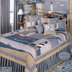 Lighthouse by the Bay, picture quilt from Patch Magic, with matching pillows and wall-hanging.