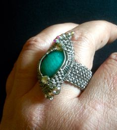 Wire wrapped ring with natural stone. Zojani - Tanja Stokin