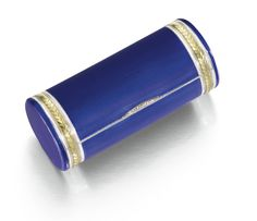 A Fabergé silver-gilt and enamel cigarette case, workmaster Henrik Wigström, St Petersburg, 1908-1917, cylindrical, the surface enamelled in translucent Royal blue over wavy engine-turning, the ends wrapped with bands of chased gilt laurel within opaque white lines, the thumbpiece set with rose-cut diamonds.