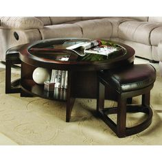 coffee table with ottomans built in
