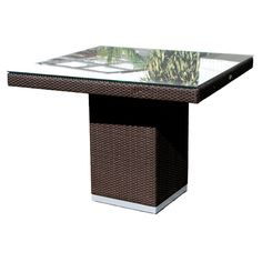 Outdoor Hospitality Rattan Sydney Square Dining Table with Optional Glass Top - HOSP806-2
