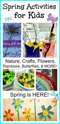 Spring is here! Try these spring activities with you kids. Spring Activities, Craft Activities For Kids, Preschool Crafts, Crafts For Kids, Baby Activities, Preschool Science, Toddler Crafts, Craft Ideas, Fun Experiments For Kids