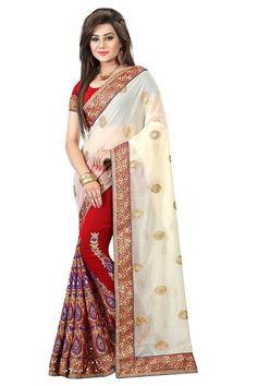 Designer Heavy Women's Georgette Saree Cream And Red Color Blue Yarn Multi-Coloured Wedding Saree#wedding saree #saree