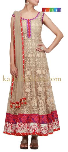 Buy it now http://www.kalkifashion.com/anarkali-suit-in-light-brown-with-thread-and-gotta-patti-work.html Anarkali suit in light brown with thread and gotta patti work