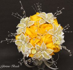 Beaded Yellow Bridal Bouquet from Glorious Beads!  Please like and visit our Facebook Page-  https://www.facebook.com/gloriousbeads