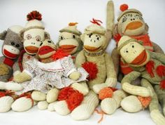 vintage sock monkey's...Sock Monkey Love
