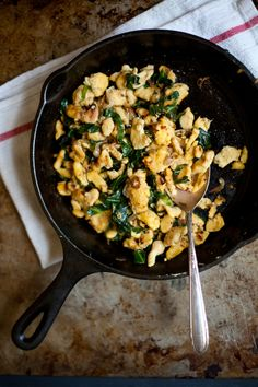 chickpea spätzle with shallots and collard greens (gluten free) | my name is yeh