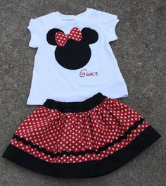 CUSTOM Minnie Mouse skirt and shirt RED by alisonhaley1 on Etsy, $45.00