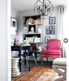 love the pink chair, shelving, black desk and orb chandelier home office Home Office Design, Home Office Decor, House Design, Office Ideas, Design Homes, Design Design, Decoration Inspiration, Interior Inspiration, Design Living Room