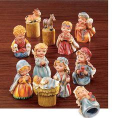 THIMBLE CHRISTMAS NATIVITY SCENE 10 PIECES  http://www.ebay.com/itm/200857521340?ssPageName=STRK:MESELX:IT&_trksid=p3984.m1586.l2649