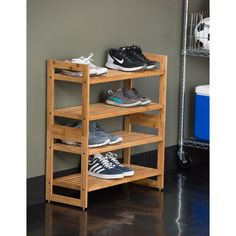 TRINITY's Bamboo Shoe Rack is functional and beautiful. This shoe rack can hold up to 6 pairs of adult shoes, and can be stacked or placed side by side for any configuration. This simple, no tool assembly unit is the perfect shoe storage solution. Bamboo Shoe Rack, Wooden Shoe Racks, Diy Shoe Rack, Diy Rack, Small Storage, Shoe Storage, Storage Spaces, Shoe Organizer, Closet Organization