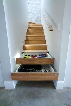 Storage solutions for a split level entryway
