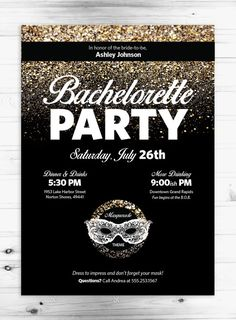 Masquerade Bachelorette Party 5x7 Invitation by AndreaArch on Etsy, $15.00
