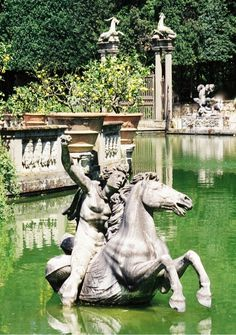 Perseus on horseback, Isolotto Pond, Boboli Gardens, Florence. The ...