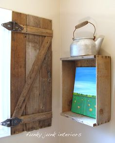Funky Junk Interiors: How to build your own barnwood shutter -- great for decoration or even as a door for the electrical panel. Description from pinterest.com. I searched for this on bing.com/images