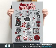 """""""How To Kill Monsters"""" by Serkworks. Get yours here: http://www.teefury.com/how-to-kill-monsters?utm_source=pinterest&utm_medium=referral&utm_content=howtokillmonsters&utm_campaign=galleryinfocus"""