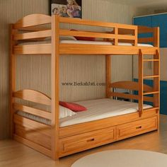 Bunk Beds for Kids Toddler Twin Over Twin Wood Natural Your Child Will Sleep in Style and Great Solution for Your Space Saving Needs by HomeTeks Cheap Bunk Beds, Ikea Bunk Bed, Bunk Beds With Storage, Bunk Beds With Stairs, Adult Bunk Beds, Kids Bunk Beds, Bunker Bed, Mezzanine Bed, Custom Bunk Beds