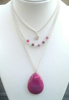 Mesmerising Pink Agate Layered Necklace - The Supermums Craft Fair
