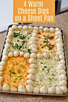 Serve 4 Different Cheese Dips on 1 Sheet Pan - Fun Party Food for a Crowd! Serve 4 Different Cheese Dips on 1 Sheet Pan - Fun Party Food for a Crowd!,Appetizers and Dips Serve 4 Different Cheese Dips on 1 Sheet Pan Bowl Party Food Finger Food Appetizers, Yummy Appetizers, Appetizers For Party, Cheese Appetizers, Dips Food, Seafood Appetizers, Snacks For Party, Superbowl Party Food Ideas, Appetizer Dinner
