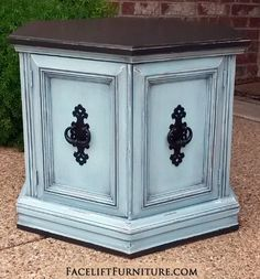 """Hexagon End table in distressed Black & Robin's Egg Blue. Original vintage pulls painted black. 27"""" deep, 23.5"""" wide, 20"""" tall. Call 979-575-7627 to purchase."""