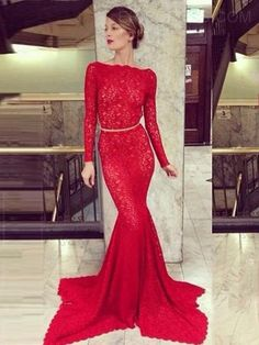 Ericdress Long Sleeve Backless Mermaid Lace Evening Dress Evening Dresses 2015- ericdress.com 11388383