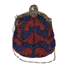 Unusually beaded evening bag of vibrant red and blue beads in a wave pattern outlined in black with a filigree metal frame and thin metal chain handle. Lined in pale green taffeta. Beaded Purses, Beaded Bags, Red Purses, Purses And Handbags, Blue Handbags, Luxury Handbags, Vintage Purses, Vintage Handbags, Red Handbag
