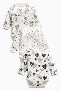 קנה מארז של שלושה בגדי גוף בסגנון פיה עם שרוול ארוך בצבע אחיד (0 חודשים-2 שנים)…
