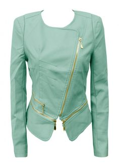 mint pvc biker jacket by andrenicole on Etsy. Oh man I want one of these, this is hot!!
