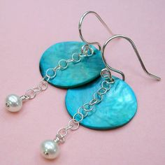 Pearl and shell earrings