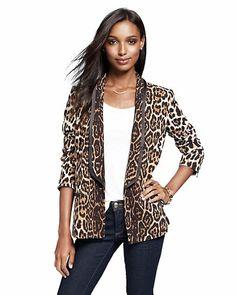 Crepe Leopard Print Blazer #wildatheart